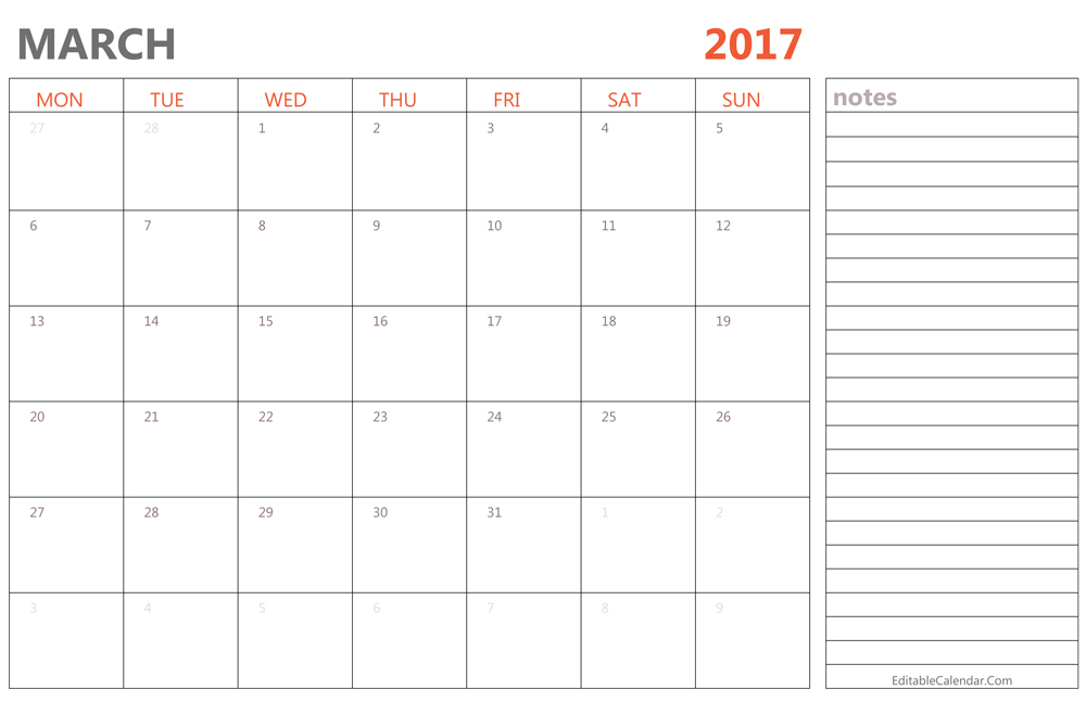 Blank March  Calendar Templates Printable Pdf