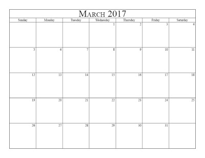 Blank March 2017 Printable Calendar Template