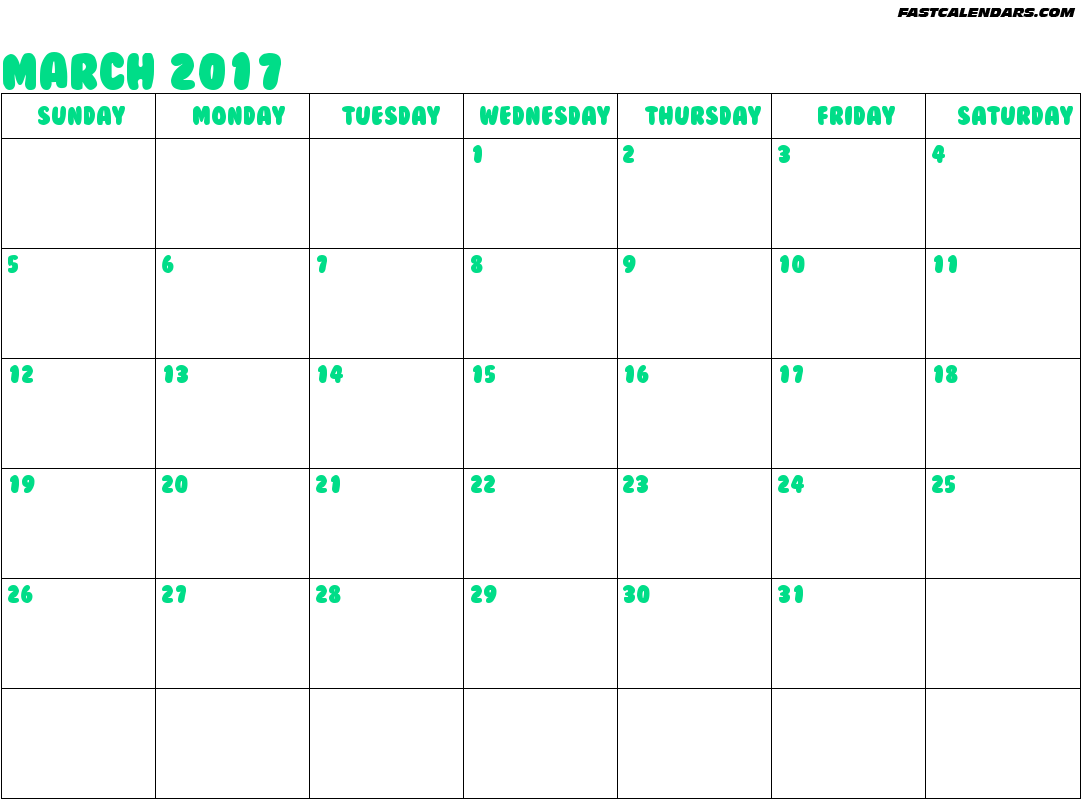 Free March 2017 Printable Calendar Editable PDF Word, Blank Templates ...