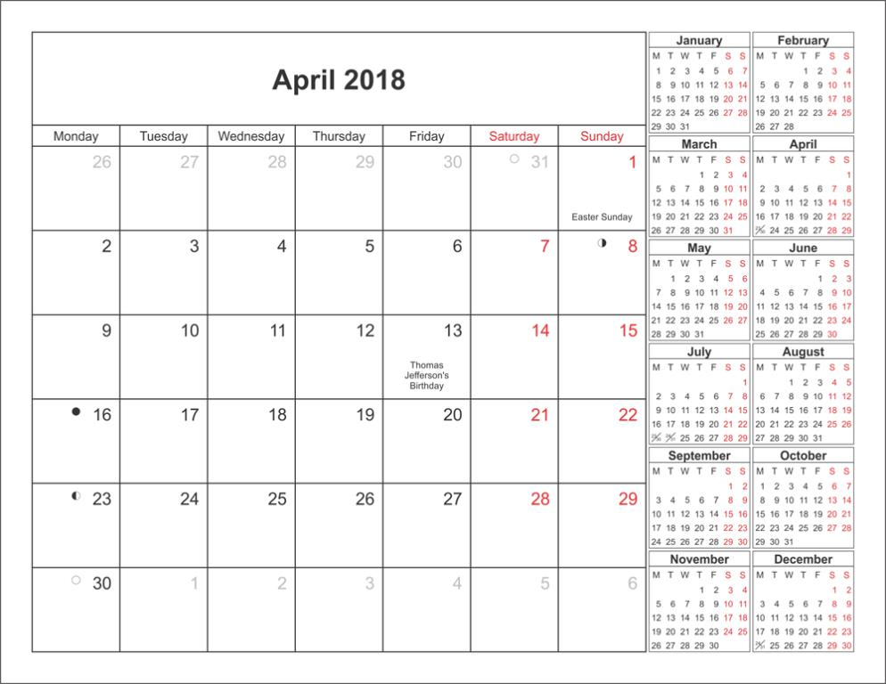 Online April 2018 Calendar With Holidays