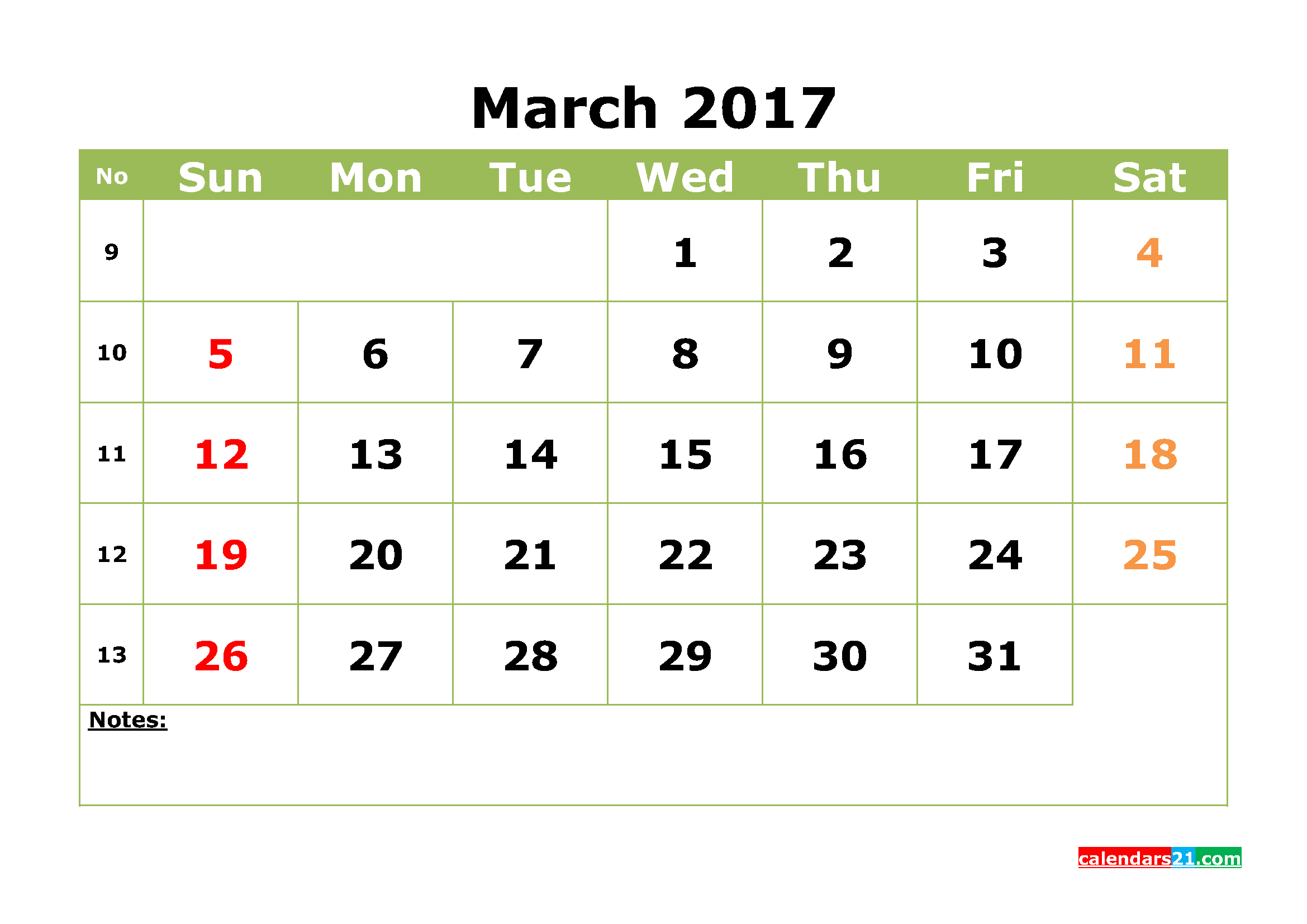 Printable March 2017 Calendar Template