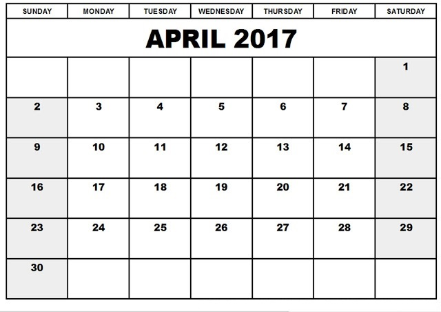 Blank April 2017 Calendar Templates Printable