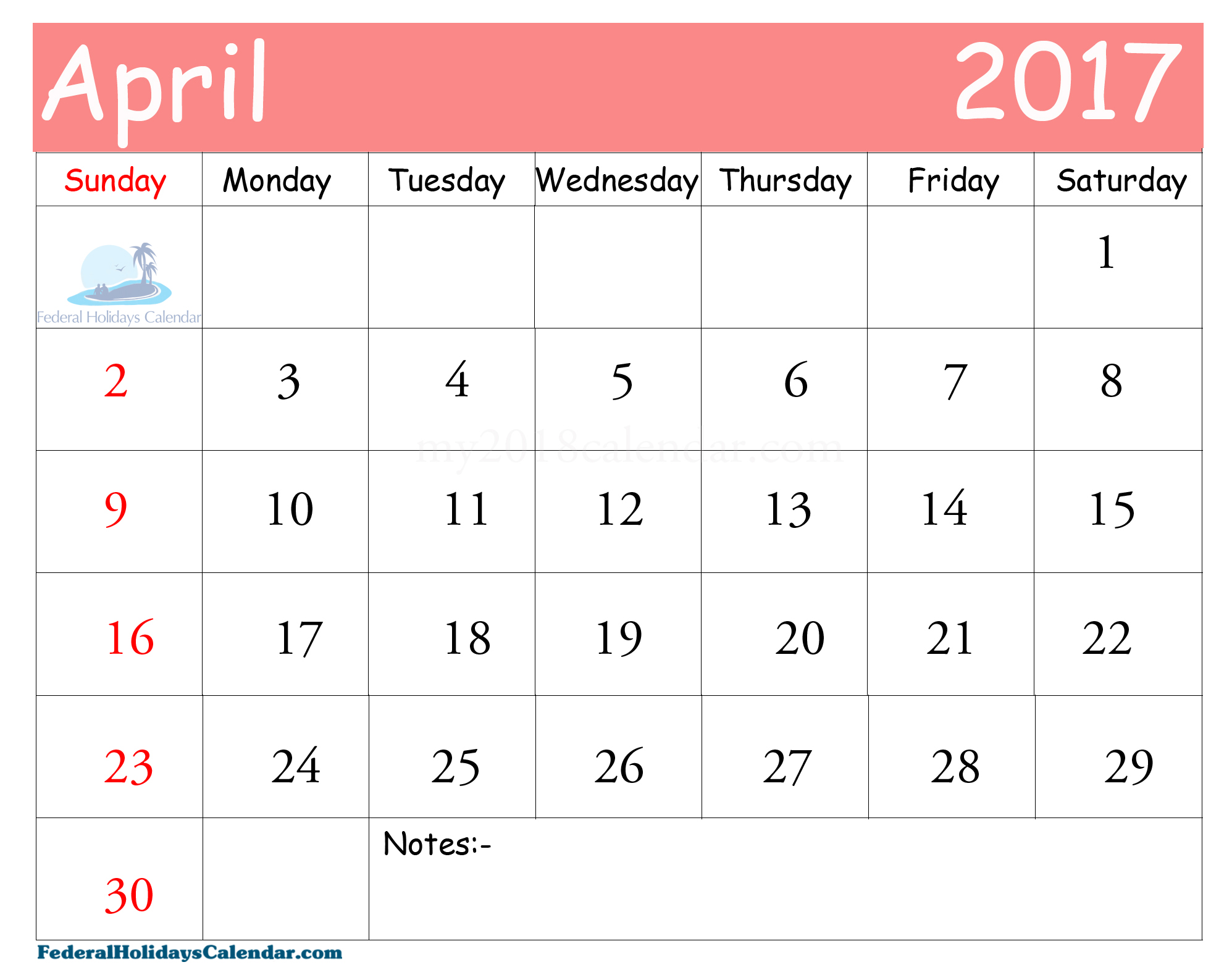 April 2017 Calendar Printable UK