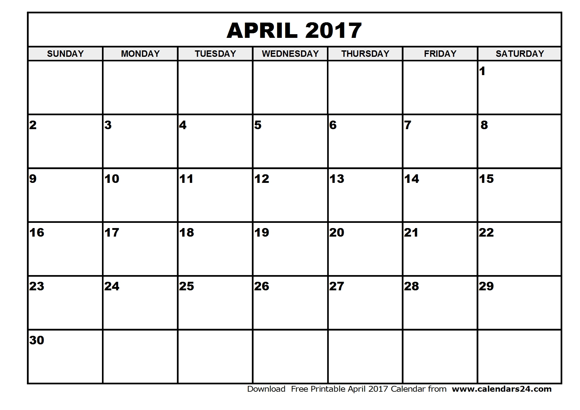 Wonderful Free April 2017 Calendar Printable