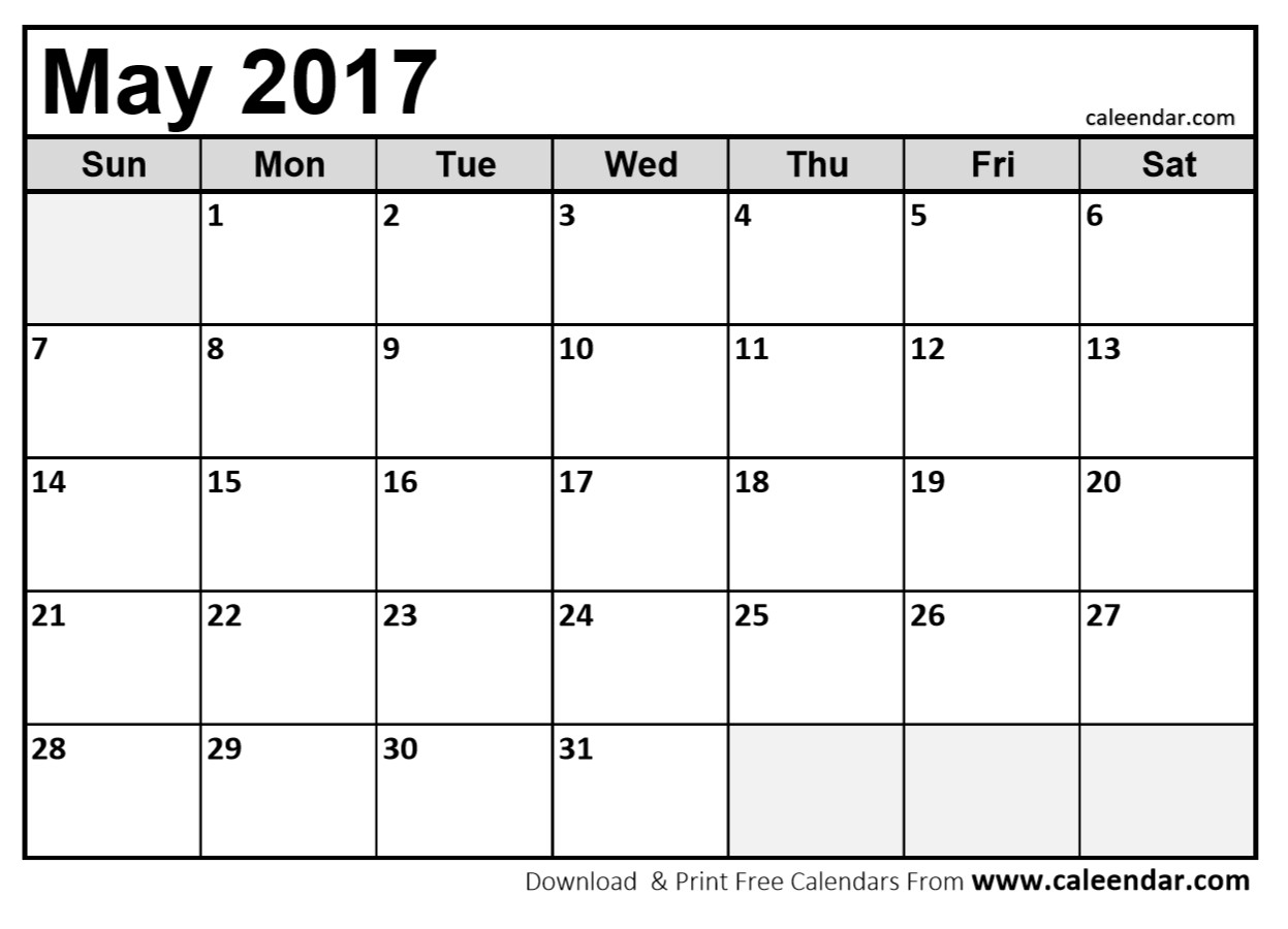 Blank May 2017 Calendar in Printable