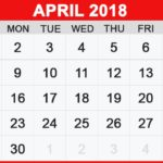 April 2018 Calendar with Holidays India USA Canada UK NZ Malaysia Singapore Australia