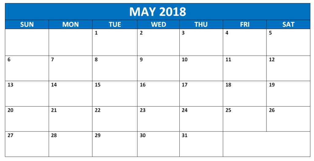 Calendar May 2018 Word Printable