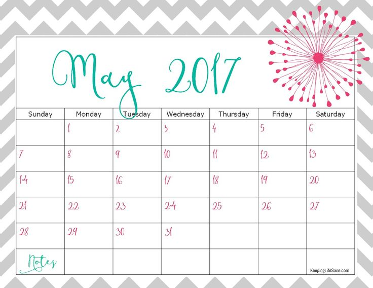 Cute May 2017 Calendar Printable