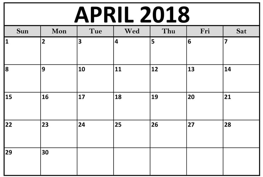 April 2018 Calendar PDF Word Excel Page Document Sheet Vertical
