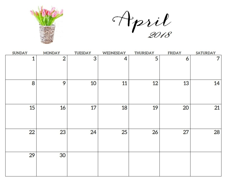 April 2018 Printable Calendar Free USA UK Canada India Singapore
