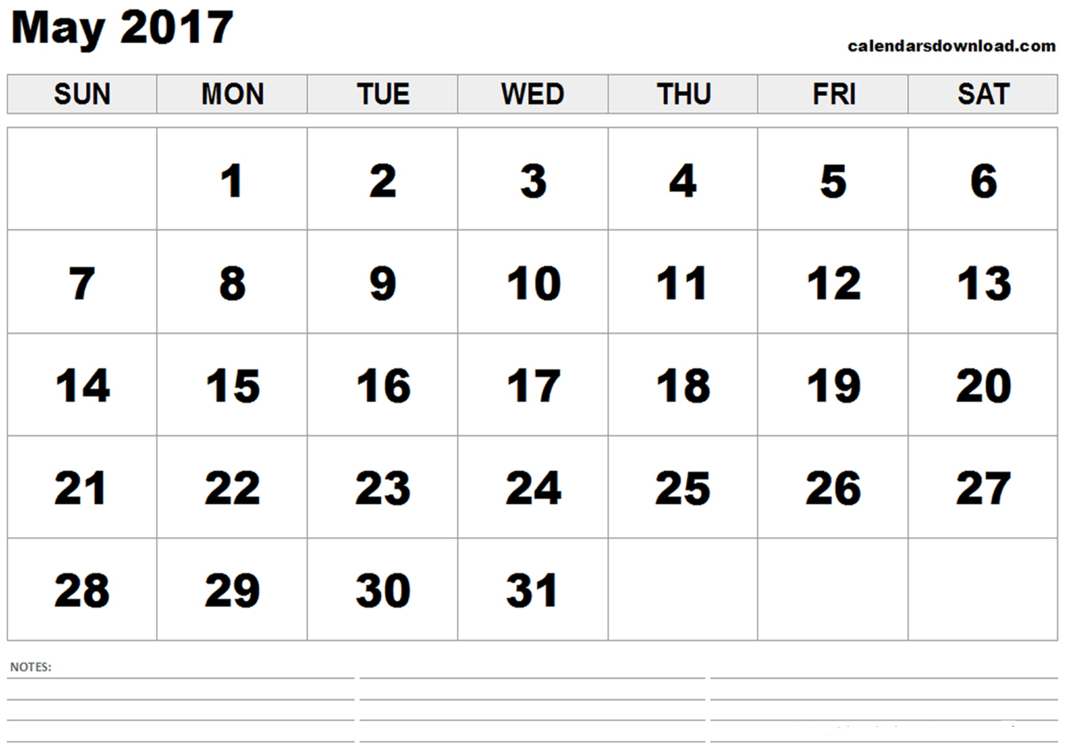 May 2017 Calendar Document
