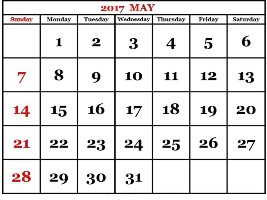 May 2017 Printable Calendar USA