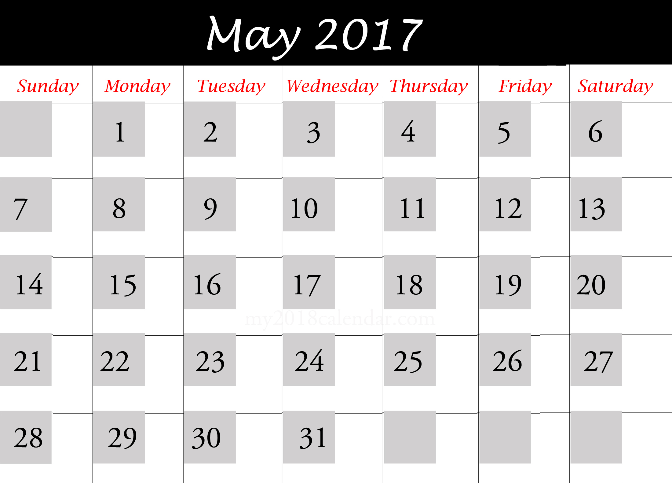 May 2017 printable Calendar Download