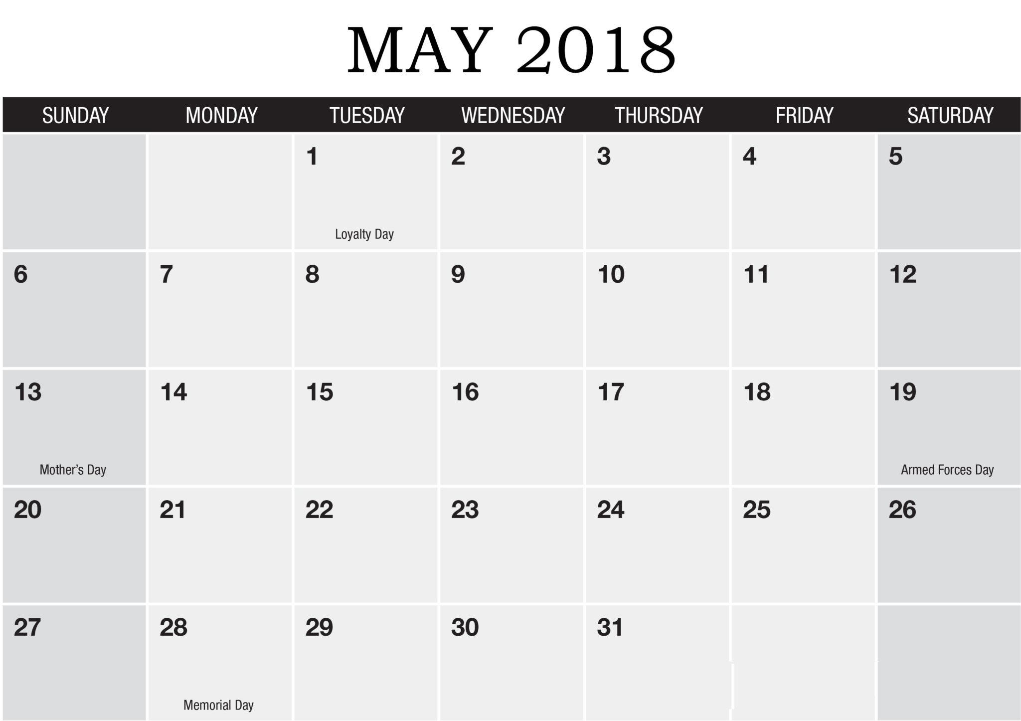 Monthly 2018 Calendar May