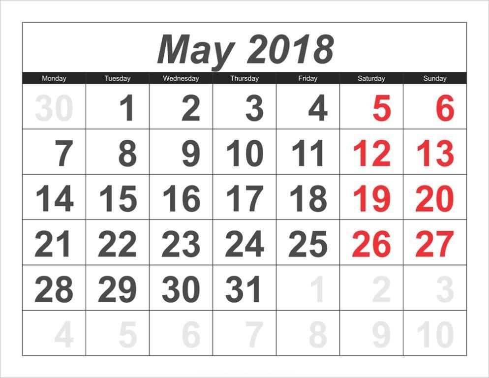 Calendar May 2018 Monthly