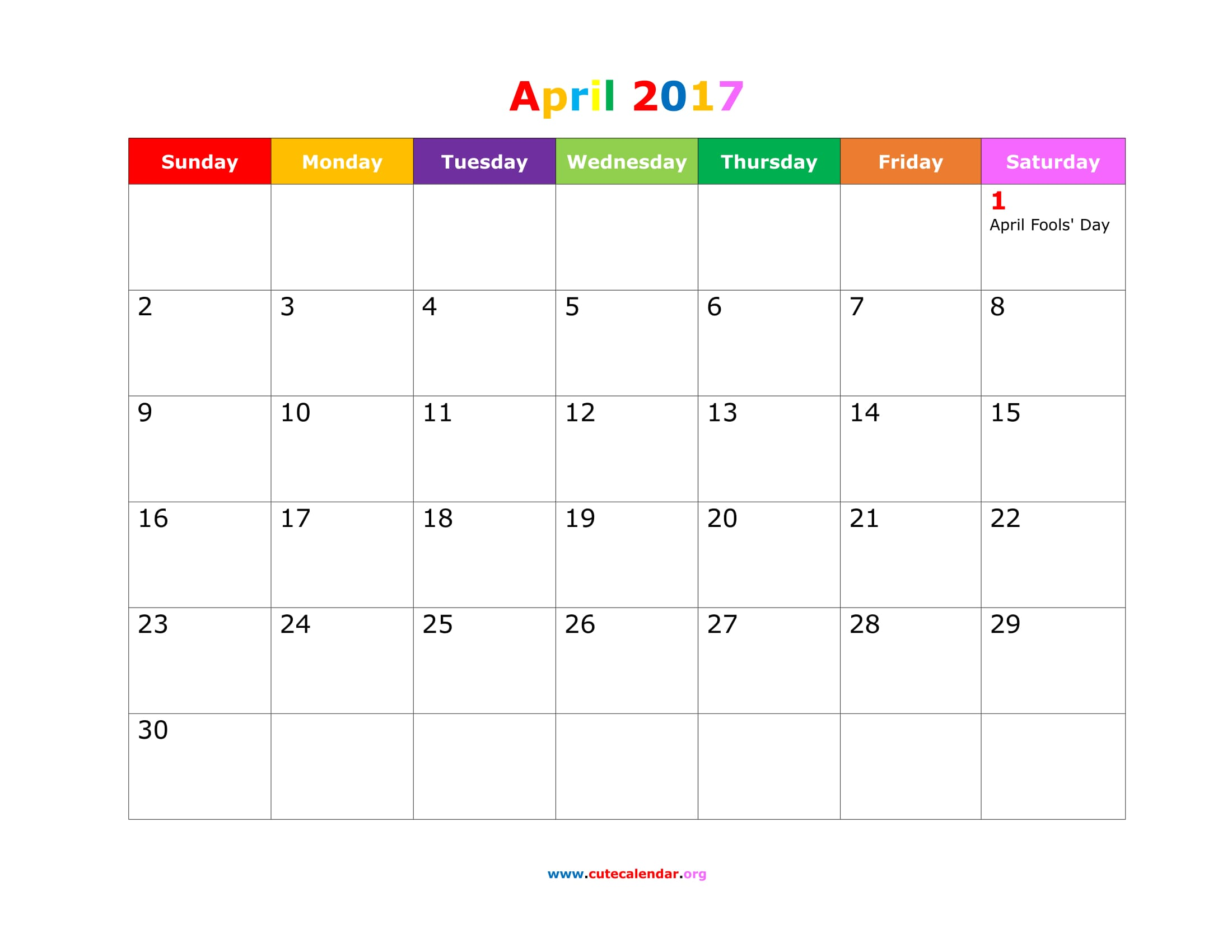 april 2017 calendar printable cute