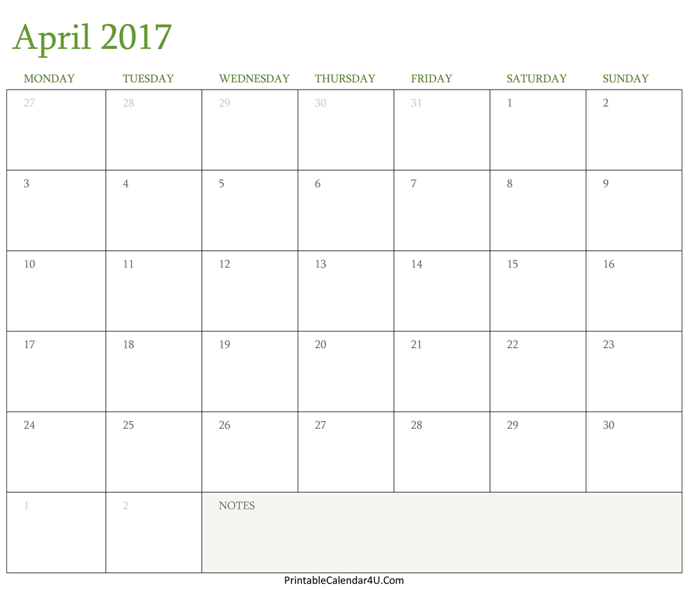 april 2017 calendar printable word pdf template