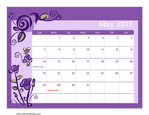 calendar 2017 may month