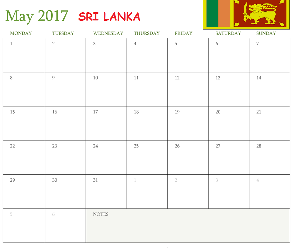 may 2017 calendar sri lanka