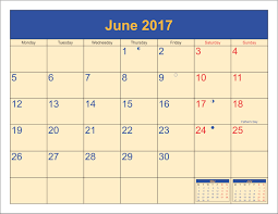 2017 june calendar fathers day