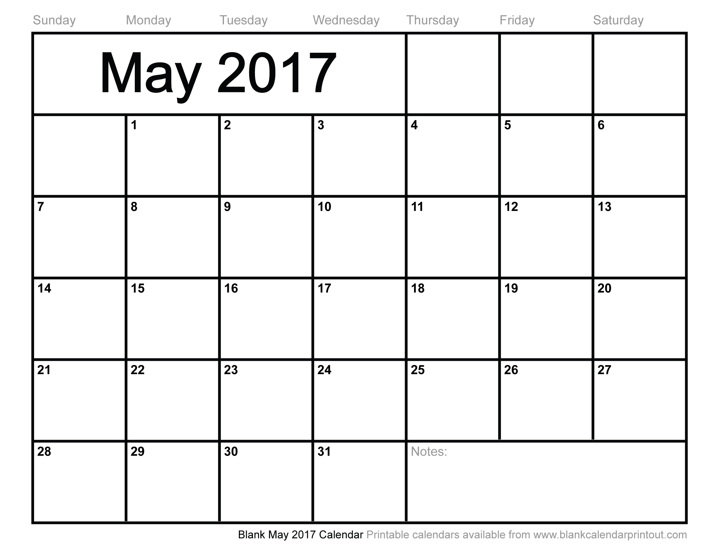 Blank May 2017 Calendar to Print