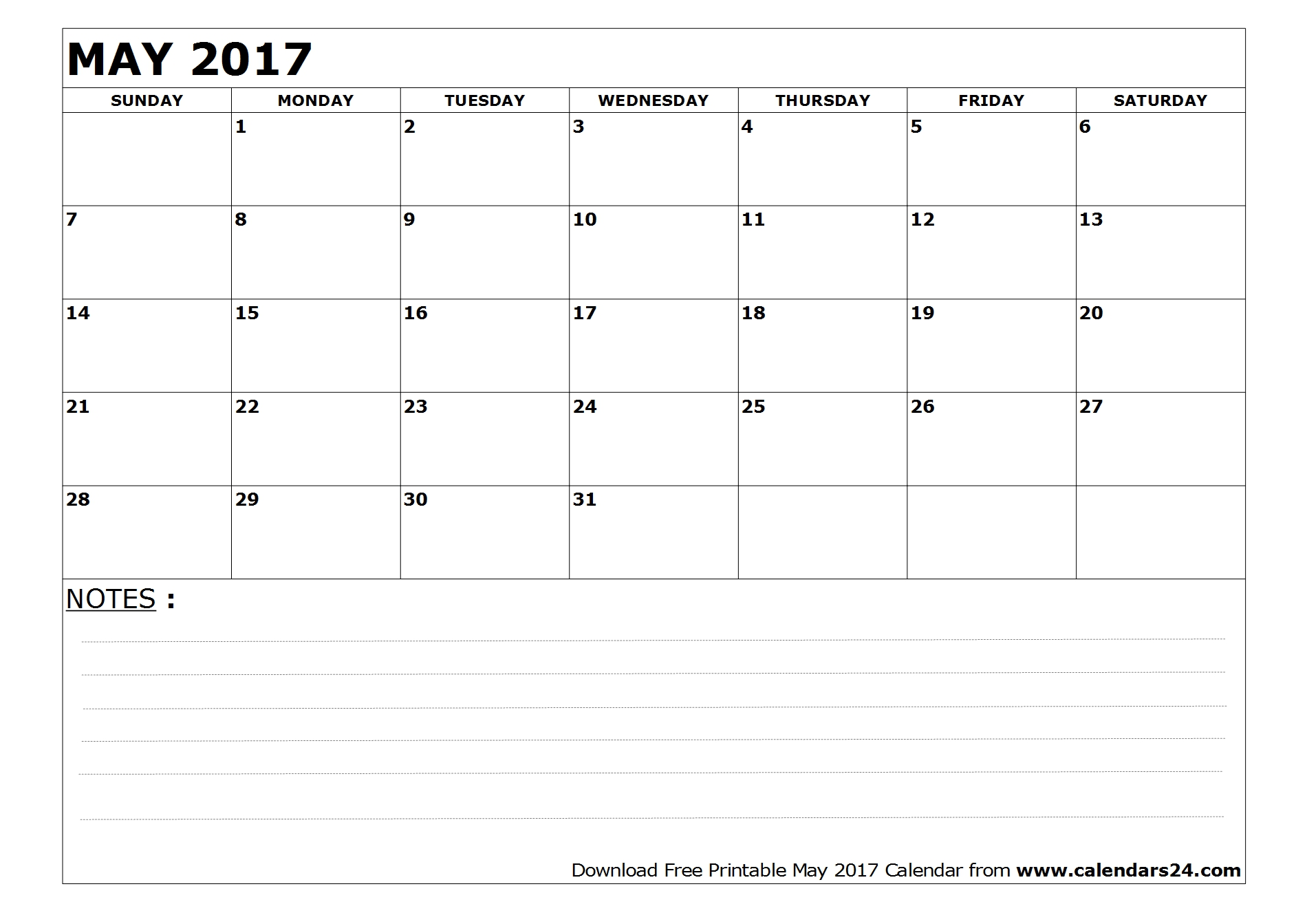 Blank May 2017 Calendar with notes
