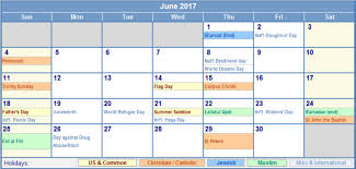 Calendar June 2017 Holidays