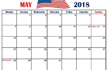 Calendar for May 2018 USA