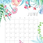 Decorative Cute 2018 June Calendar Floral Wallpaper Designs