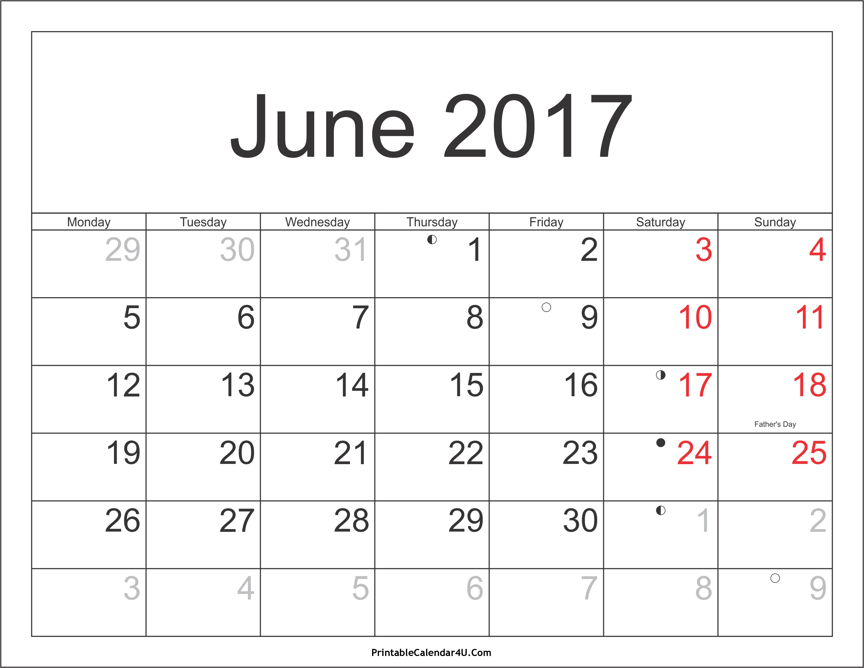 JUne 2017 Calendar with Holidays