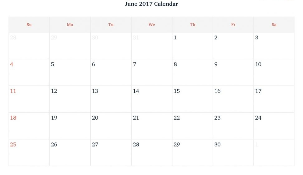 Blank June  Calendar Templates Printable With Notes Pdf Excel