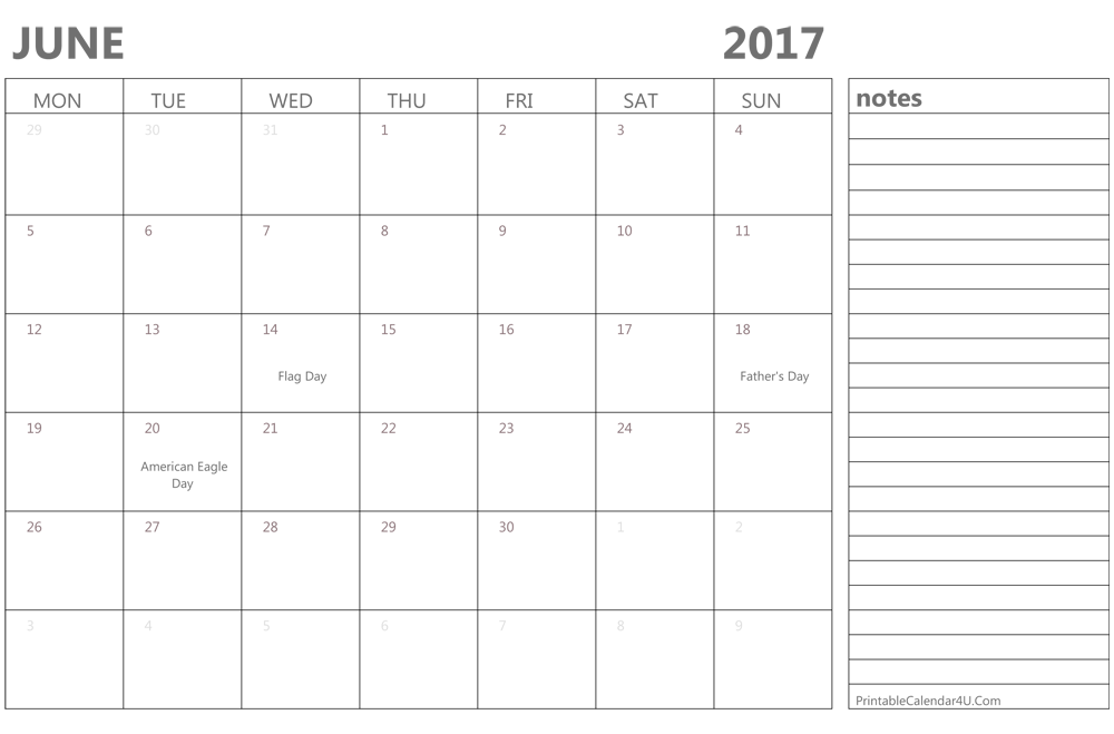 June 2017 Calendar USA Holidays