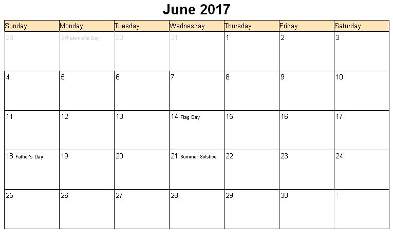 June 2017 Calendar With Holidays UK