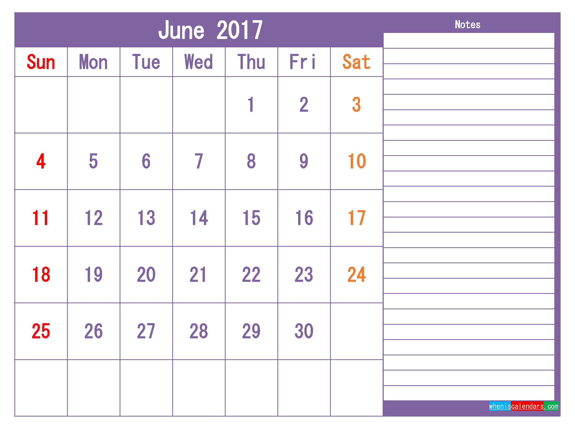 June 2017 Printable Calendar Template as PDF and PNG