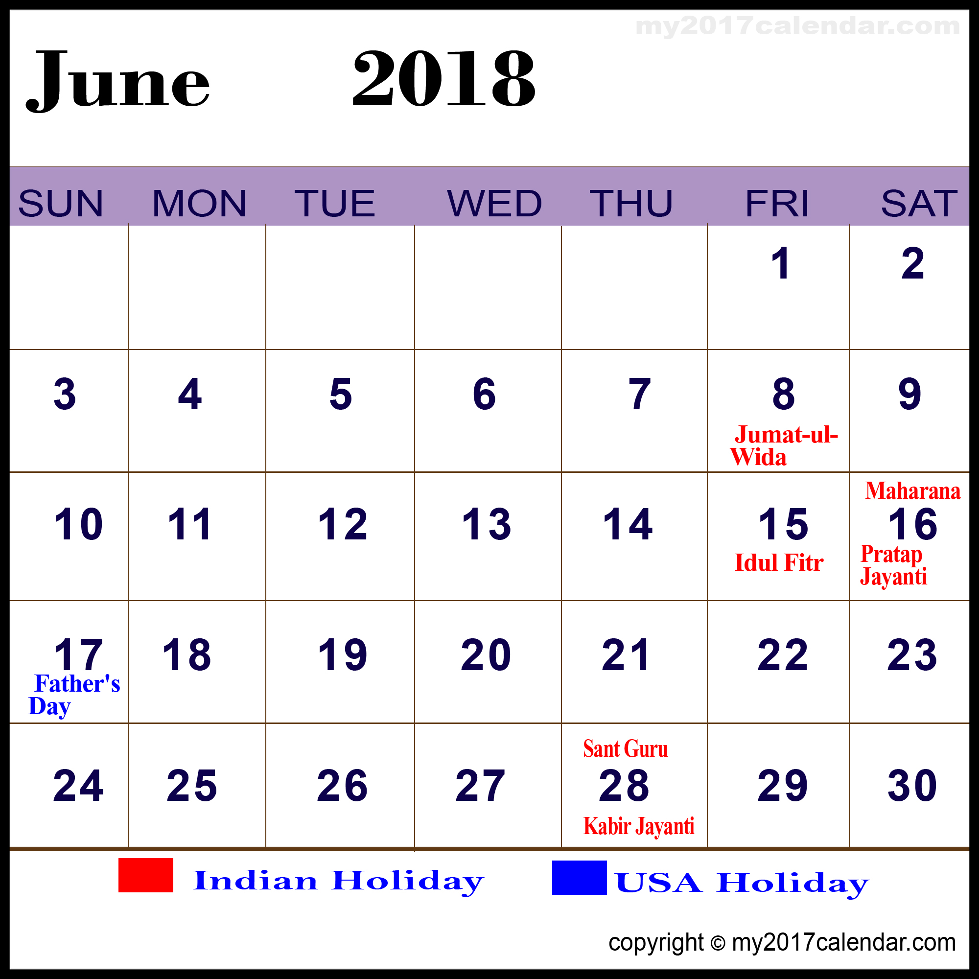 june 2018 calendar india holidays