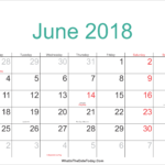 June 2018 Calendar with Holidays USA UK India Singapore Malaysia Canada Germany Telugu Tamil Marathi Australia NZ
