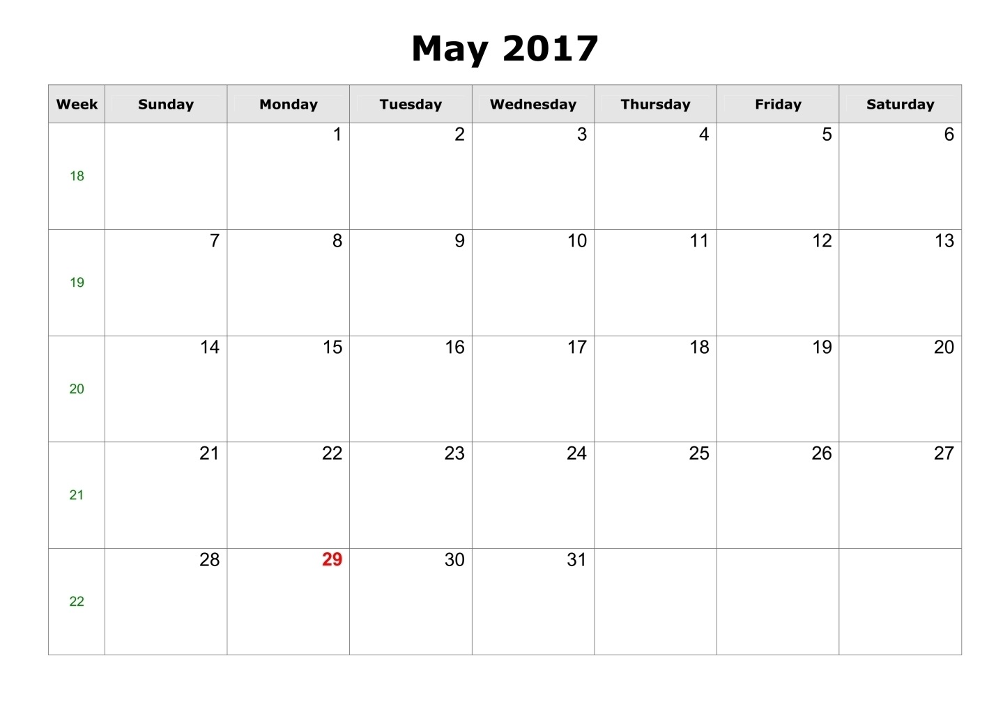 May 2017 Calendar Printable Templates