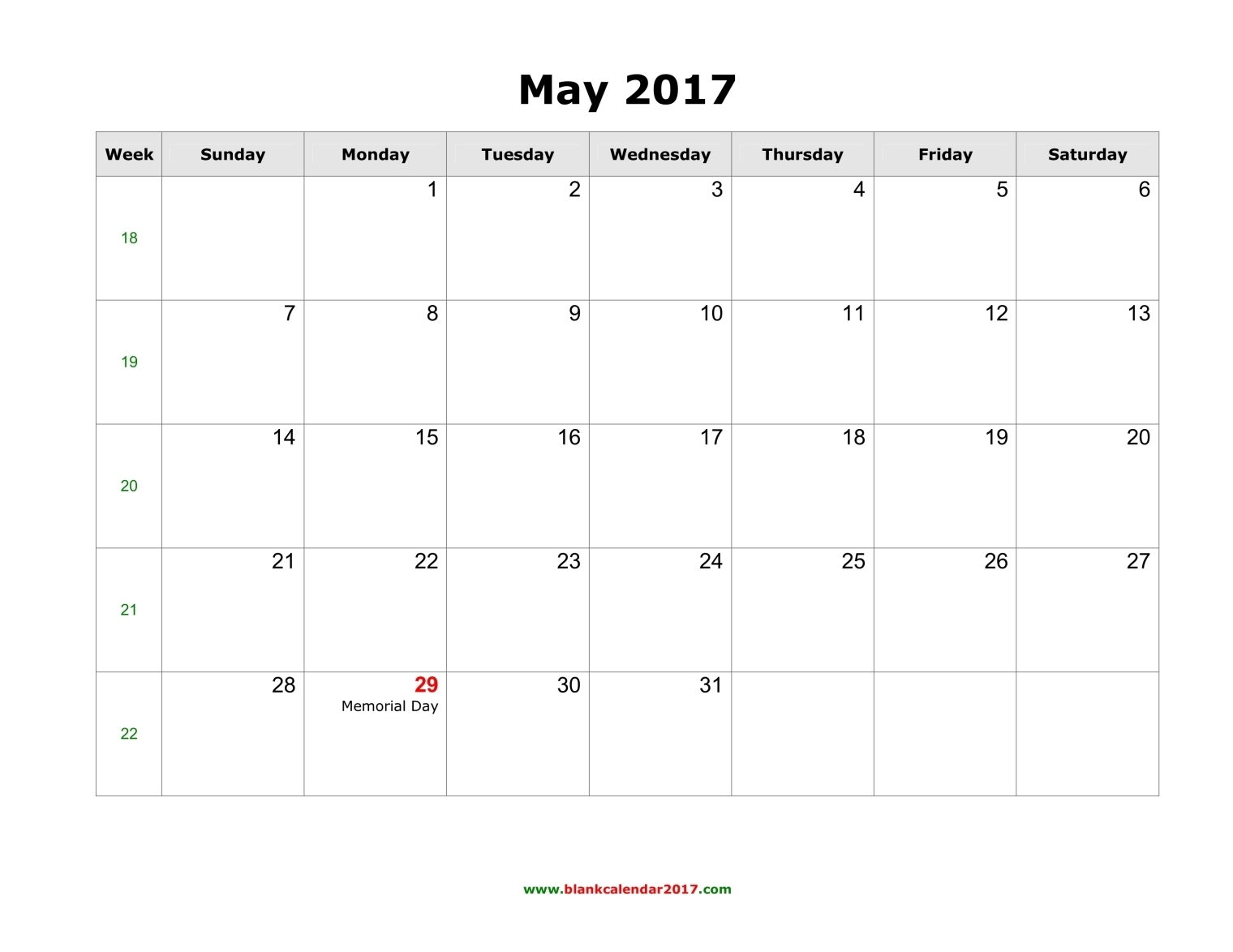 May Calendar 2017 with Holidays