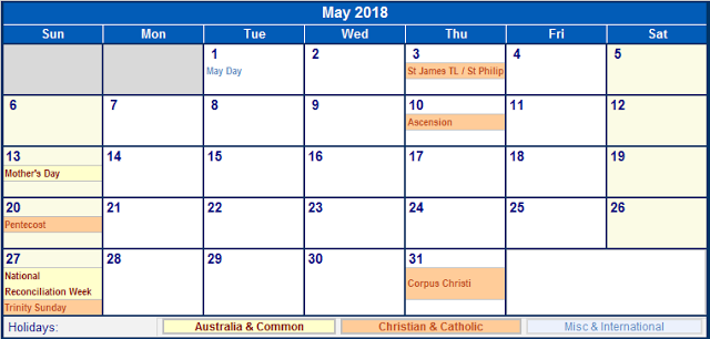 May Calendar 2018 Holidays