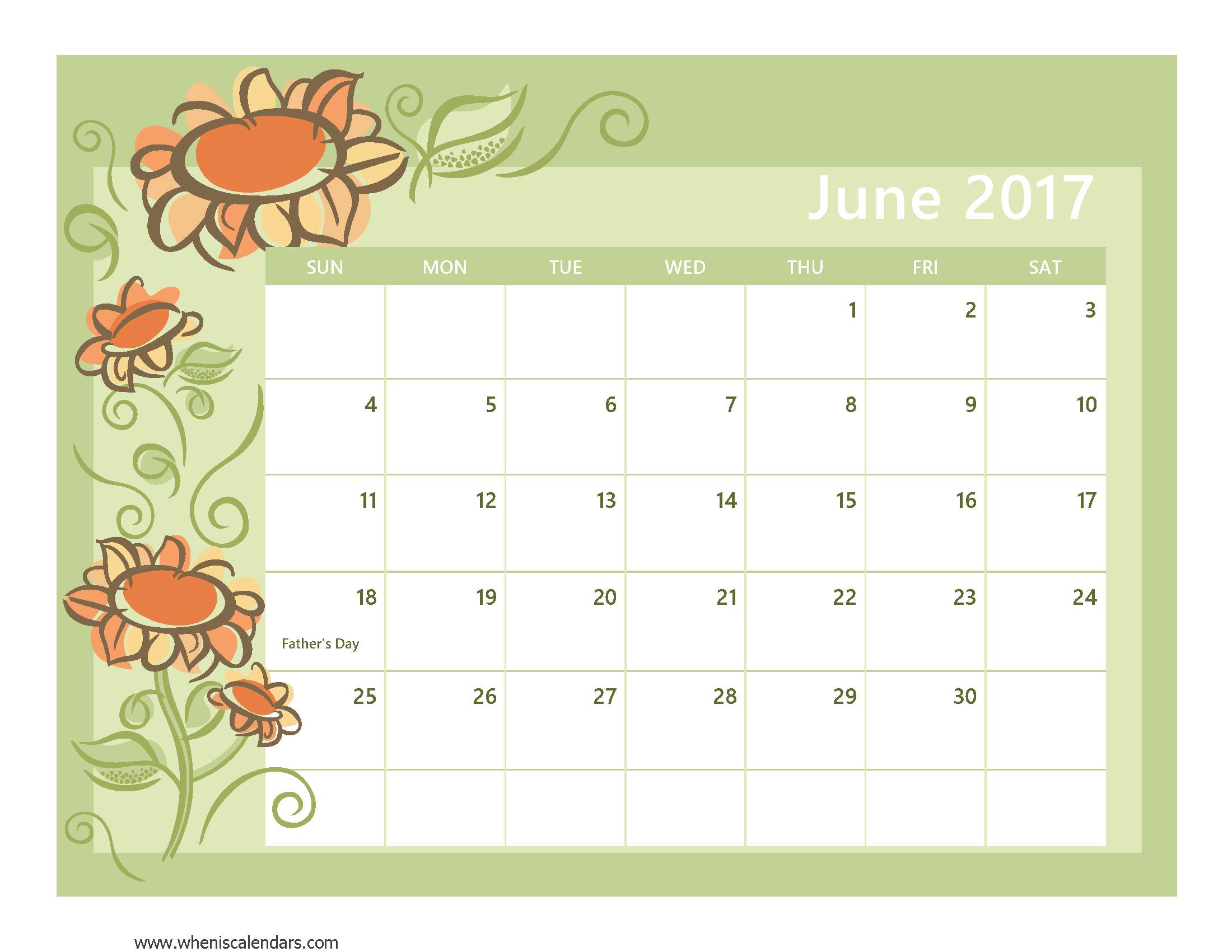 Blank June 2017 Calendar Templates Printable with Notes PDF Excel