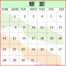 Printable May 2017 calendar Ireland