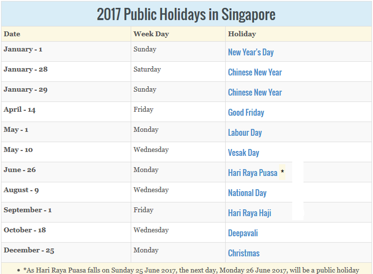 june 2017 calendar with holidays singapore