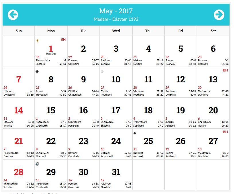 may 2017 holidays malyalam