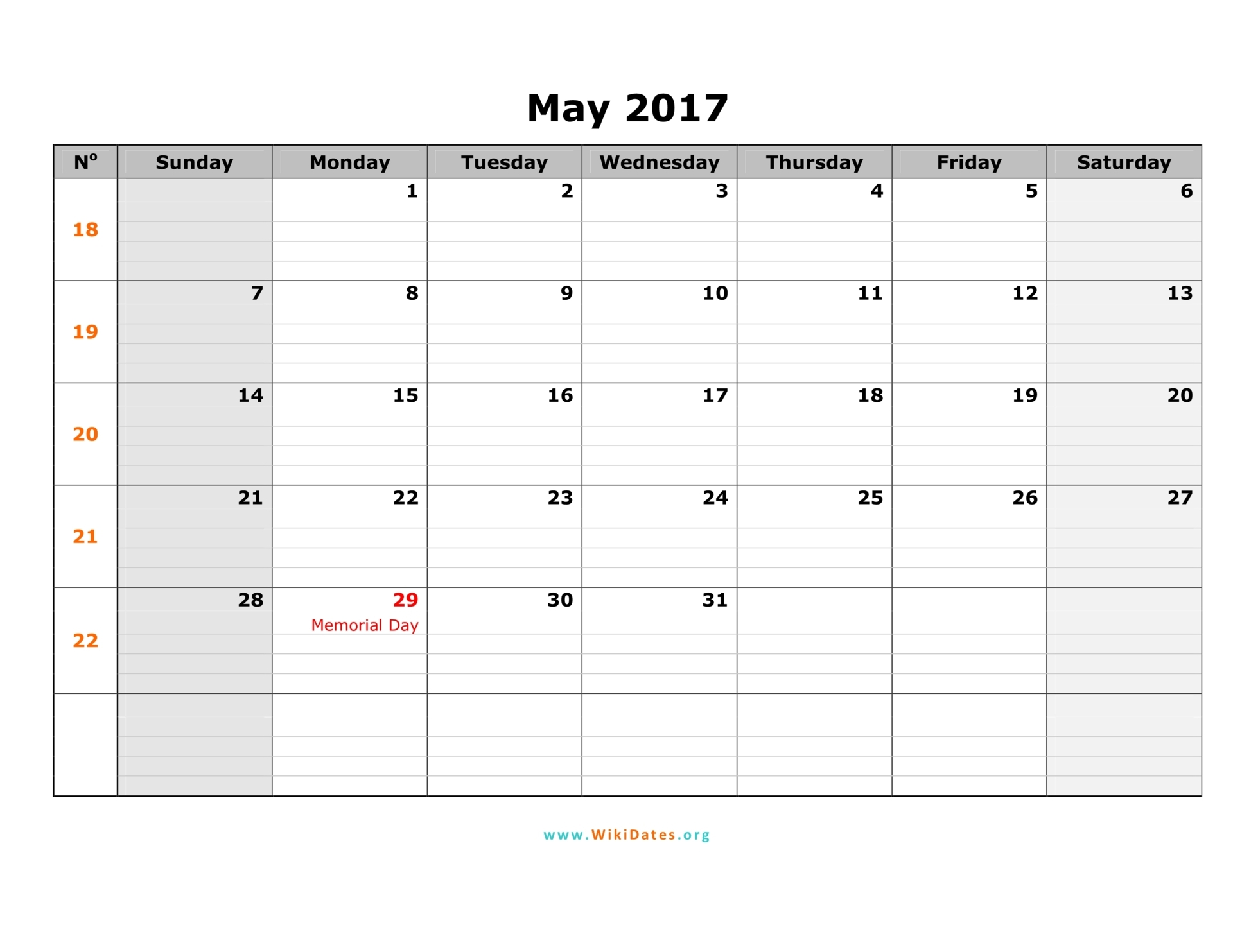 may calendar 2017 with holidays printable