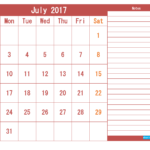 Cute July 2017 Calendar Page PDF Word Excel with notes Vertical Landscape Portrait