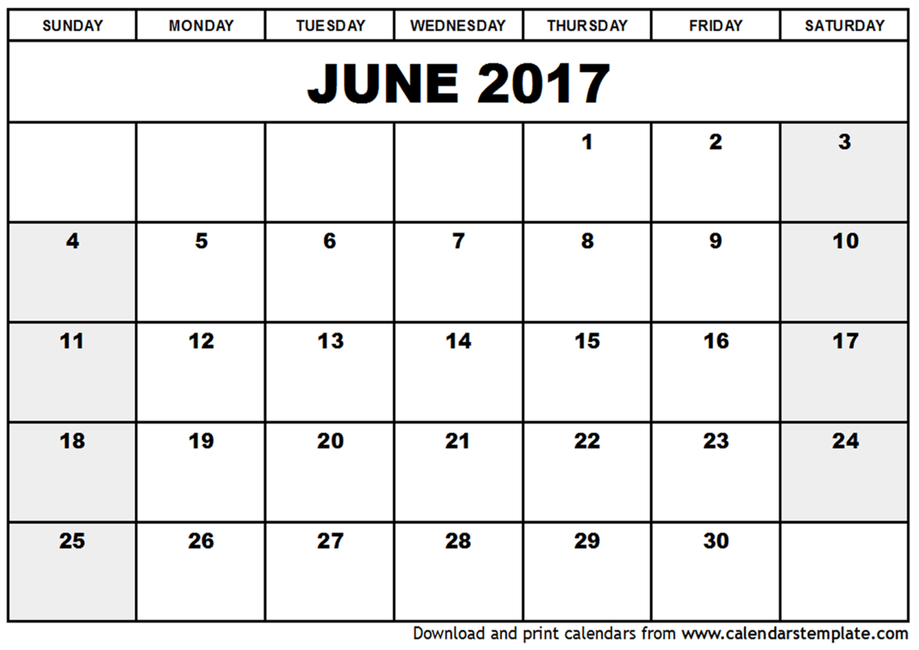June 2017 Printable Calendar Free Download