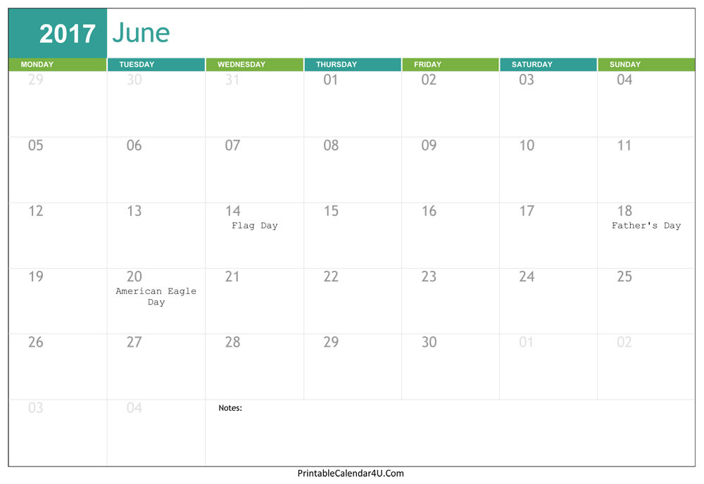 June 2017 Printable Calendar Free Download PDF Word Excel Templates