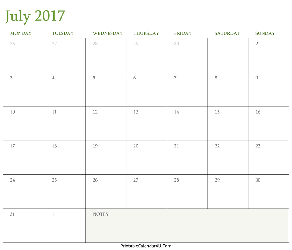 printable july 2017 calendar with lines
