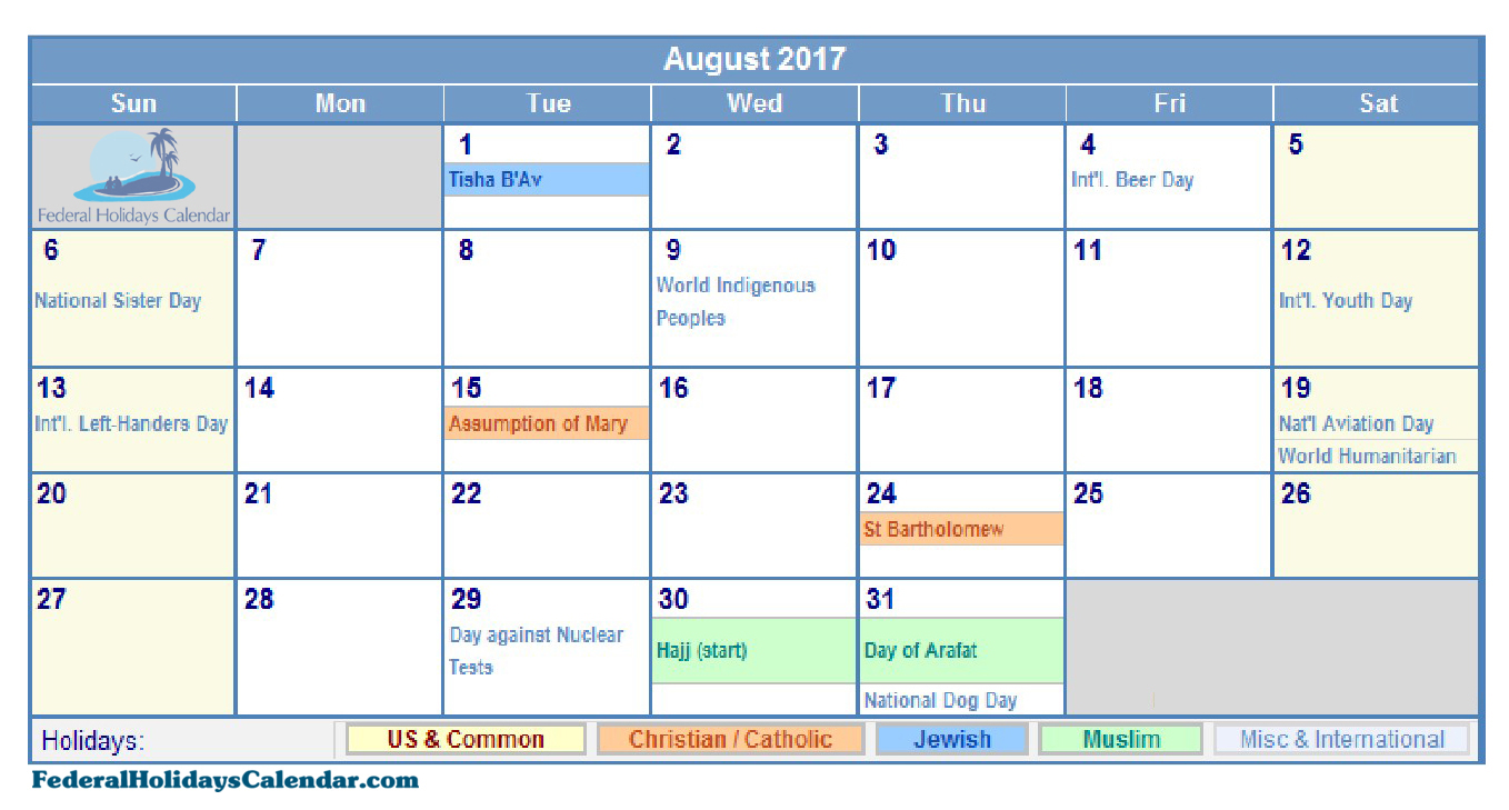 2017 August calendar with holidays