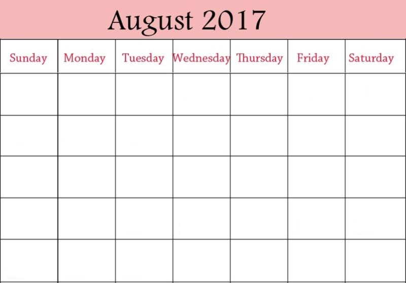 August 2017 Blank Calendar Download